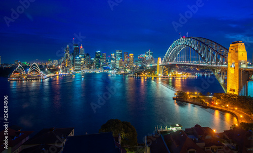 Poster Sydney Sydney harbour and bridge in Sydney city