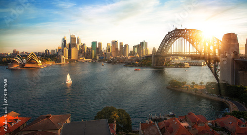 Foto auf Gartenposter Sydney Sydney harbour and bridge in Sydney city