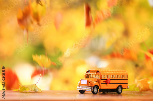 Fotografija  Autumn scene of an orange school bus surounded by falling leaves