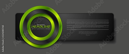 Fotografía  Abstract black banner with green glossy circle