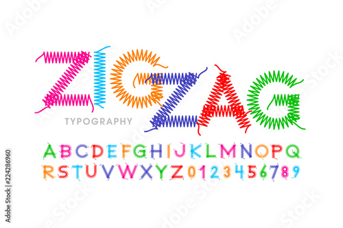 Fotografia Zigzag font stitched with thread, embroidery font alphabet letters and numbers