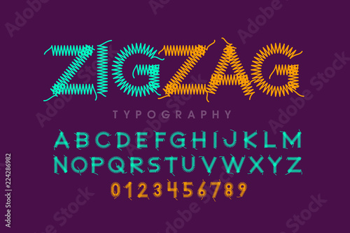 Fototapeta Zigzag font stitched with thread, embroidery font alphabet letters and numbers
