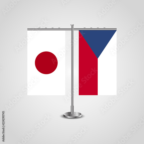 Photo  Table stand with flags of Japan and Czech Republic