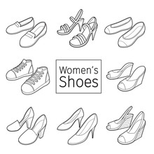 Collection Of Different Women's Shoes Pair, Outline, Footwear, Fashion, Objects
