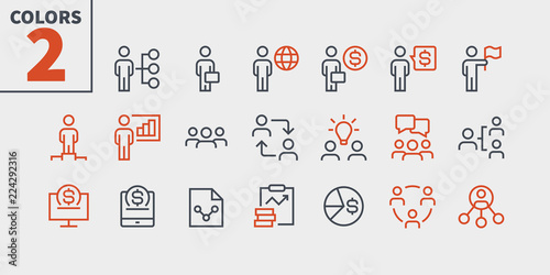 Fotografie, Obraz  Business UI Pixel Perfect Well-crafted Vector Thin Line Icons 48x48 Ready for 24x24 Grid for Web Graphics and Apps with Editable Stroke