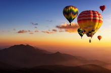 Hot Air Balloons With Landscap...