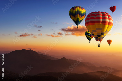 Aluminium Prints Balloon Hot air balloons with landscape mountain.