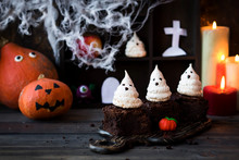 Brownie With Ghosts Of Meringue As The Idea Of A Dessert For Halloween