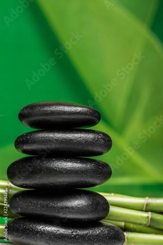 Spoed Foto op Canvas Zen Balancing Pebbles with Bamboo