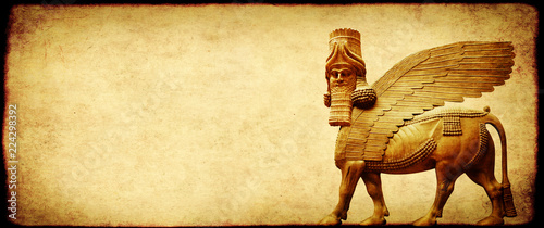 Grunge background with paper texture and lamassu