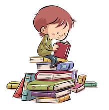 Niño Sentado Con Muchos Libros