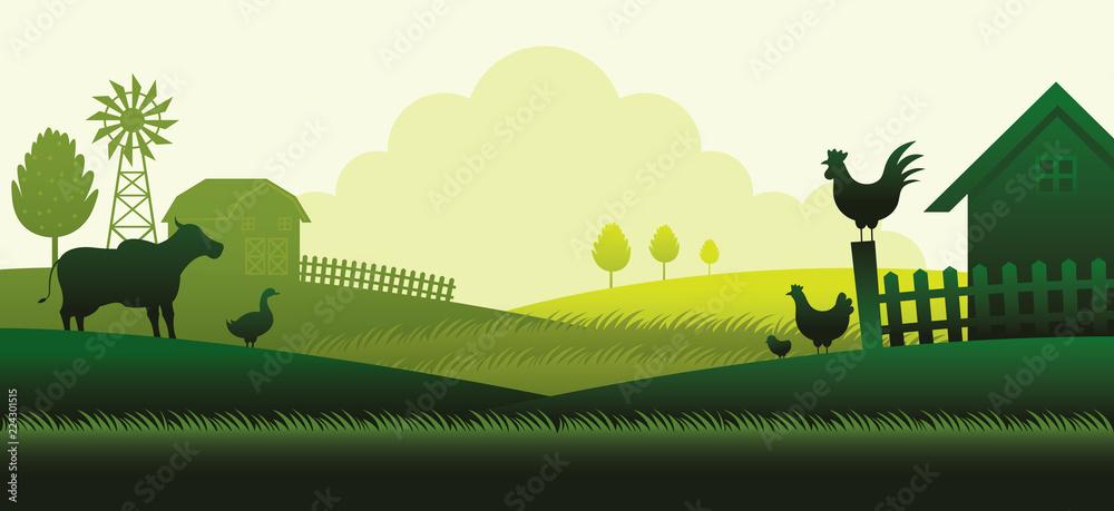Fototapeta Farm with Animals Silhouette Background