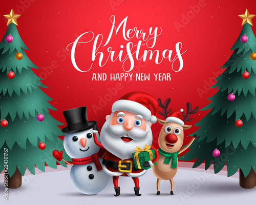 Fototapeta Christmas vector characters like santa claus, reindeer and snowman holding gift with merry christmas greeting and tree in a red background. Vector illustration.