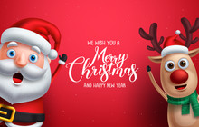 Santa Claus And Reindeer Vector Christmas Characters Waiving Hand With Merry Christmas Greeting In Red Background. Vector Illustration Christmas Template.