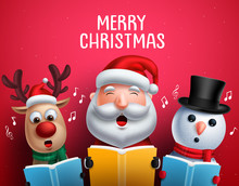 Christmas Vector Characters Like Santa Claus, Reindeer And Snowman Singing Christmas Carols Holding Song Book For Carolling In Red Background. Vector Illustration.