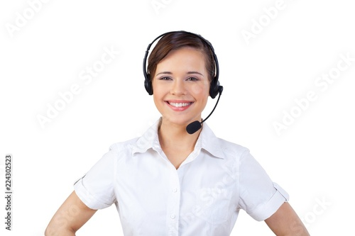 Young Woman in Headset as Support Phone Operator