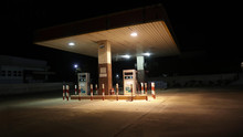Old Gas Station In Night