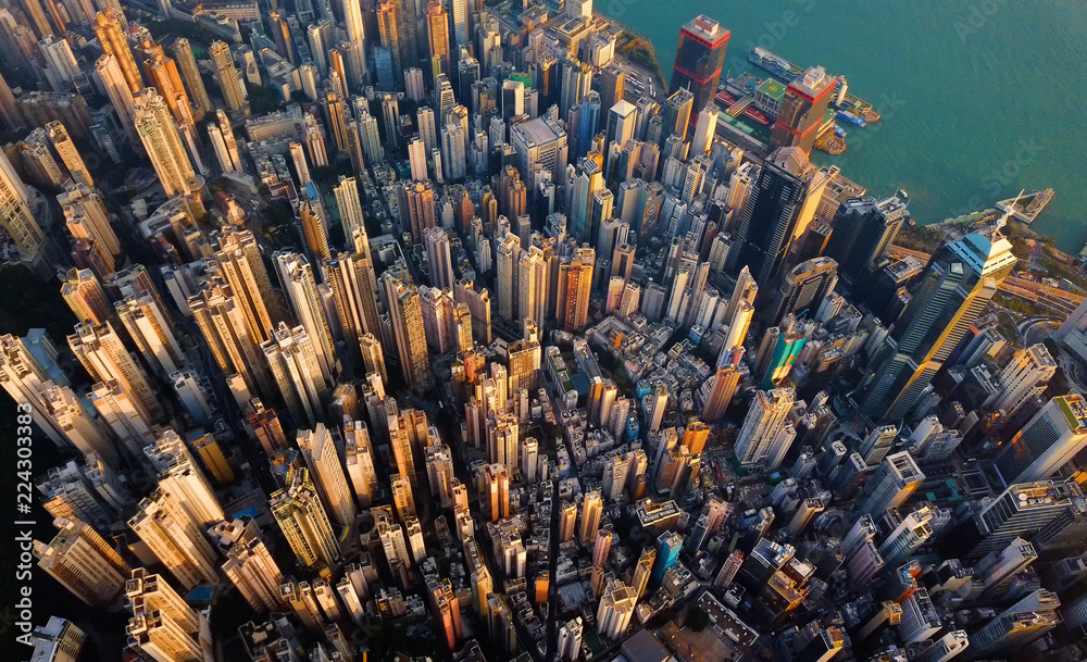Fototapety, obrazy: Aerial view of Hong Kong Downtown. Financial district and business centers in smart city in Asia. Top view of skyscraper and high-rise buildings.
