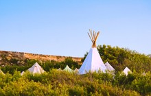 White Canvas Teepees (or Wigwams) Camped In A Field Under A Clear Blue Sky
