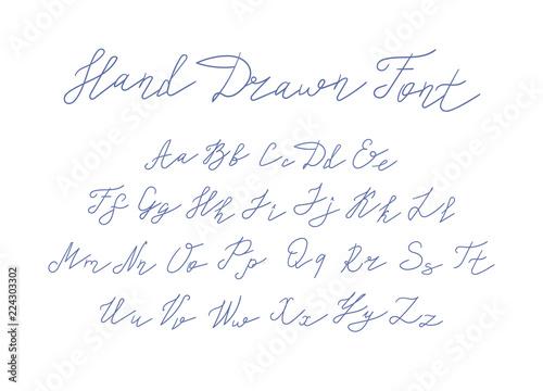 Fotografia, Obraz  Vector Handwritten Font, Freehand Writing Letters on White Background