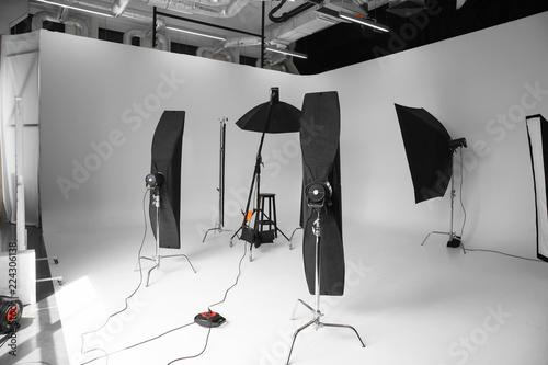 Valokuva  Interior of modern photo studio with professional equipment