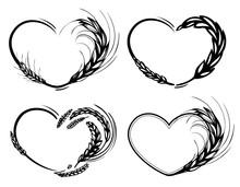 Rye, Barley, Malt And Wheat Heart Frame. Love Organic, Cereals