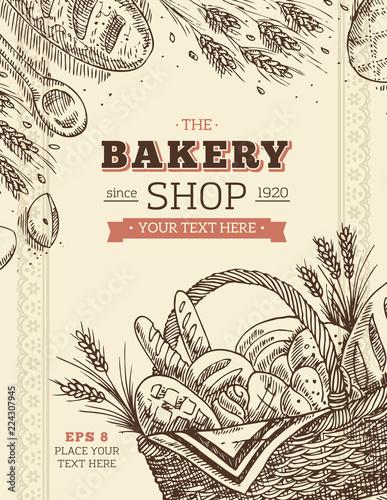 Foto op Plexiglas Retro Vintage Bakery basket design template. Bread illustration. illustration