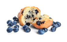 Tasty Blueberry Muffin On Whit...