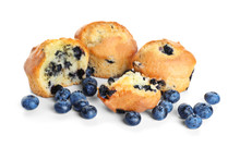 Tasty Blueberry Muffins On Whi...