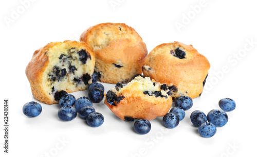 Valokuvatapetti Tasty blueberry muffins on white background