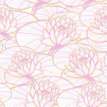 Ink Hand Drawn Lotus Seamless Pattern Pink