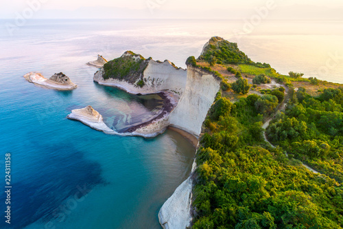 Ile Beautiful view of Cape Drastis in the island of Corfu in Greece