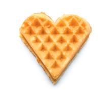Heart Shaped Waffle On White Background