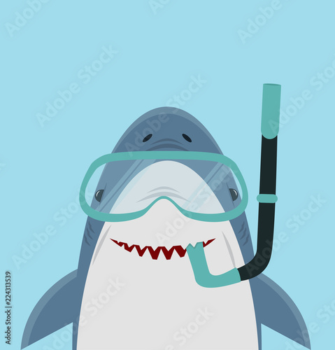 Cute White Shark  with diving equipment Wallpaper Mural