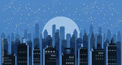 Cityscape night. Modern city skyline panoramic vector background. Urban city tower skyscrapers skyline illustration, isolated, illustration