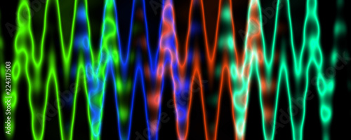 Photo Multicolor blurred glowing lines isolated on black background