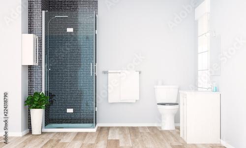 Fotografia  grey minimal bathroom render