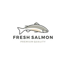 Salmon Fish Logo Seafood Label Badge Vector Sticker Download