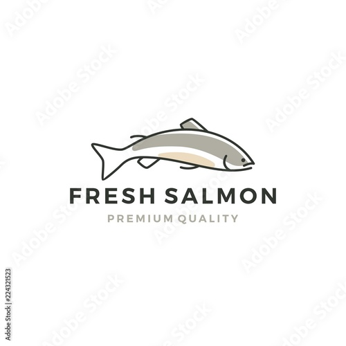 salmon fish logo seafood label badge vector sticker download Fototapeta
