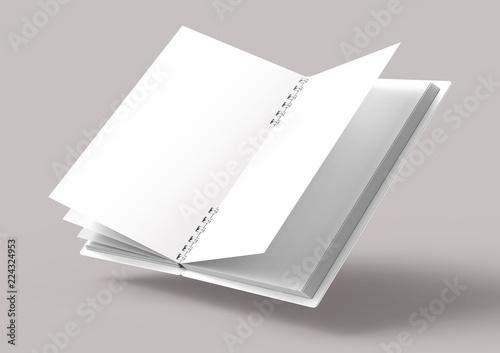 Floating white hard cover book Billede på lærred