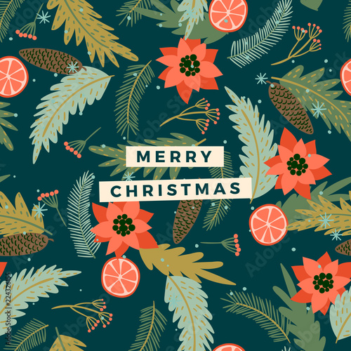 Fototapety, obrazy: Christmas and Happy New Year illustration. Trendy retro style.