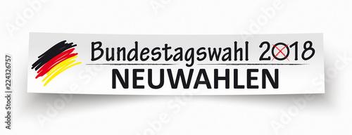 Paper Banner Bundestagswahl Neuwahlen 2018 Canvas Print