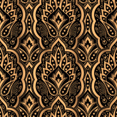Luxury background vector. Paisley royal pattern seamless. Indian design for y...