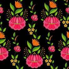 Hungarian Folk Pattern Vector Seamless. Kalocsa Floral Ethnic Ornament. Slavic Eastern European Print On Black Background. Vintage Flower Design For Woman Fabric, Holiday Wrapping Paper, Backdrop.