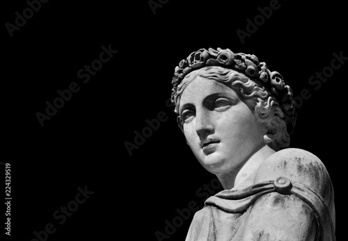 Fotografie, Obraz  Ancient Roman or Greek goddess marble statue (Black and White with copy space)