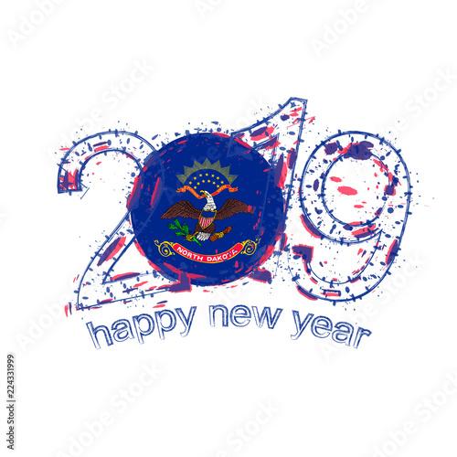 Fotografía  Happy New 2019 Year with flag of North Dakota US State