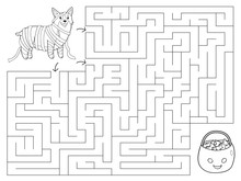 Halloween Maze Game For Children. Coloring Page. Welsh Corgi Dressed Up As A Mummy. Trick Or Treat. Preschool Education. Vector Illustration.