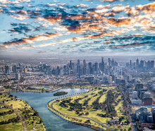 Melbourne Aerial City View Wit...