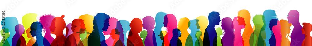 Fototapeta Talking crowd. Dialogue between people. Colored silhouette profiles. People talking. Multiple exposure
