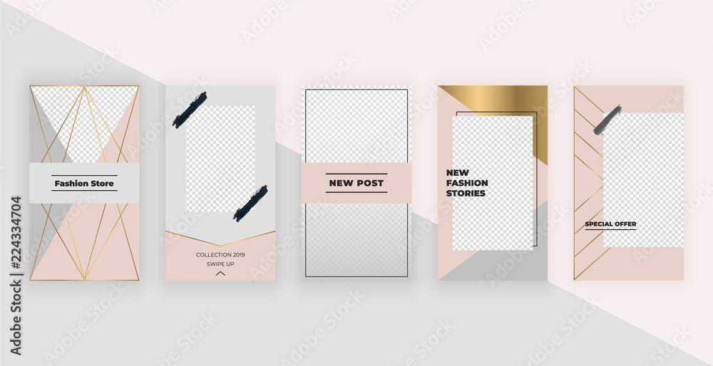 Fototapety, obrazy: Fashion templates for Instagram Stories. Modern cover design for social media, flyers, card.